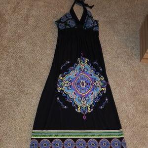 Cute long halter dress stretch material